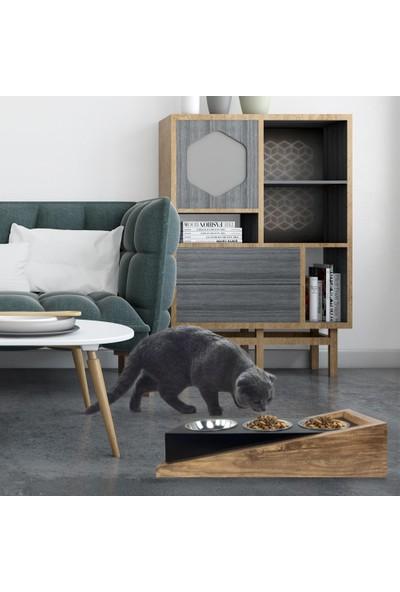 Odun Concept Ahşap Kedi Mama ve Su Kabı Ramp 3'lü