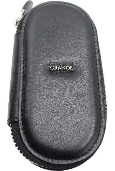 Grande 716 %100 Hakiki Deri Anahtarlık Siyah