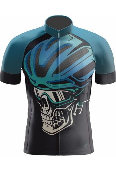 Freysport Skull-04 Bisiklet Forması Kısa Kol - Siyah Mavi