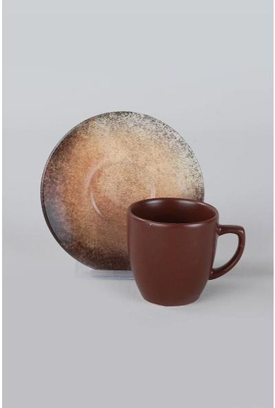 Keramika Kahverengi Taş Kahve Takımı 12 Parça 6 Kişilik-18412