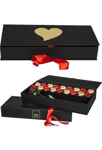 Kaf Güllü Kutuda Kalp Çikolata