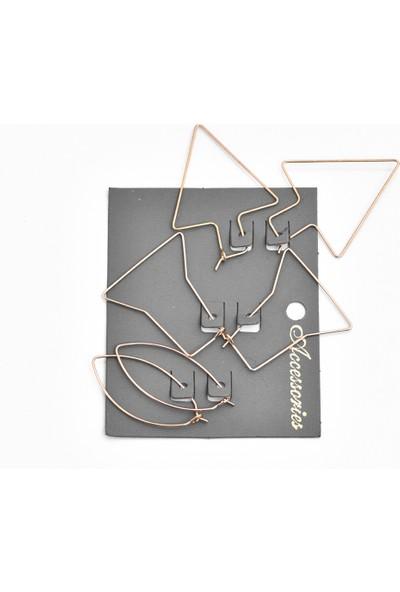 La'dess Accessories & Collections Çoklu Kart Altın Sarısı Küpe