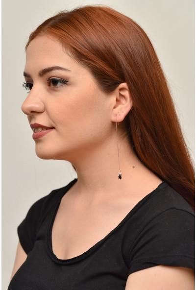 La'dess Accessories & Collections Uzun Zincir Siyah G Taş Küpe