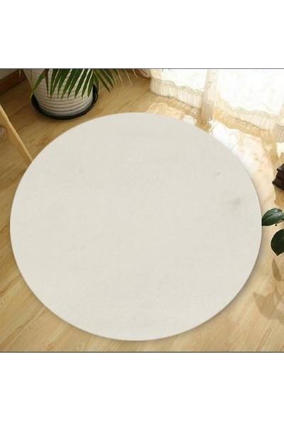 Balat Halı Dekoratif Beyaz Peluş Yumuşak Yuvarlak - Oval Halı