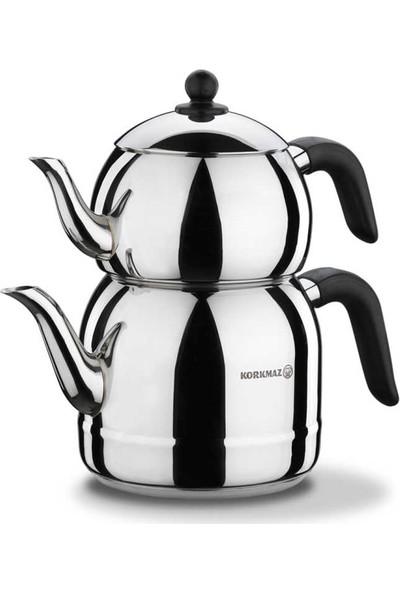 Korkmaz A194 Retro Çaydanlık Takımı Siyah