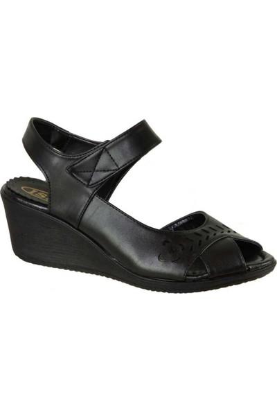 Mavişim 023 Ortopedi Dolgu Taban Siyah Kadın Sandalet