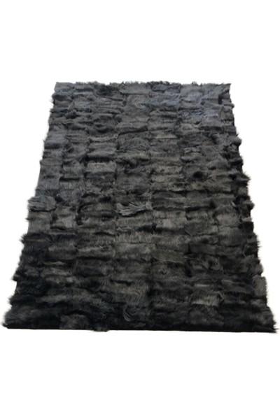 Bienna Fur Siyah Doğal Kuzu Kürkü Toskana Halı
