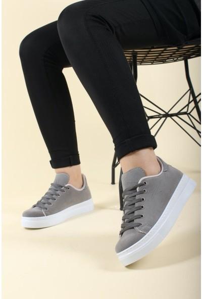 Walking Gri Günlük Süet Kadın Sneaker