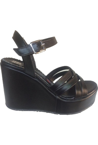 Elegan Siyah Deri Kafes Bantlı Dolgu Topuk Rahat Ayakkabı
