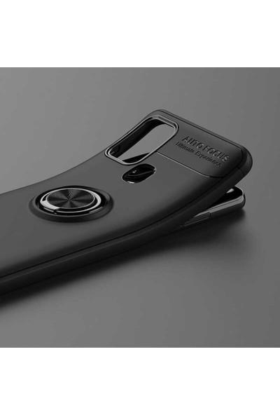 Case 4U Samsung Galaxy M31 Kılıf Yüzüklü Darbeye Dayanıklı Arka Kapak Ravel + Cam Ekran Koruyucu Siyah