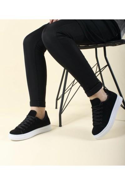 Walking Siyah Beyaz Günlük Süet Kadın Sneaker