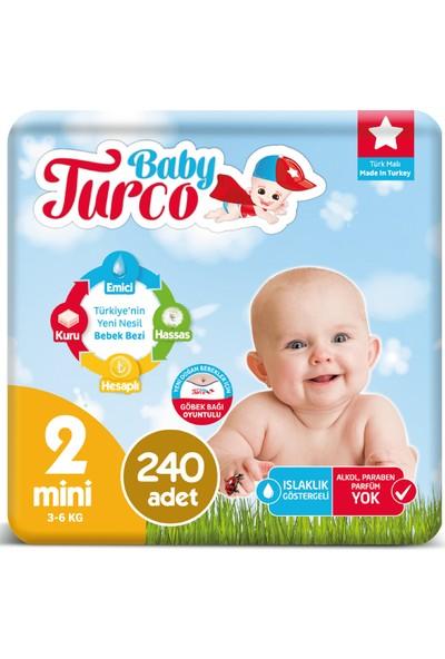 Baby Turco Bebek Bezi 2 Numara Mini 3-6 Kg 4*60 240'lı