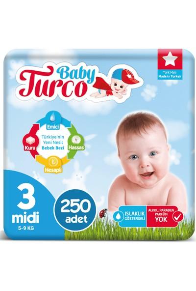 Baby Turco Bebek Bezi 3 Numara Midi 5-9 Kg 5*50 250