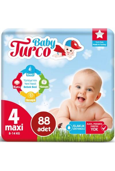 Baby Turco Bebek Bezi 4 Numara Maxi 8-14 Kg 44*2 88'li