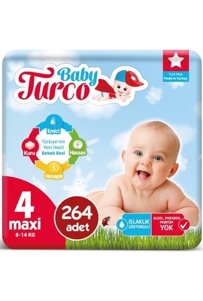 Baby Turco Bebek Bezi 4 Numara Maxi 8-14 Kg 44*6 264'lü