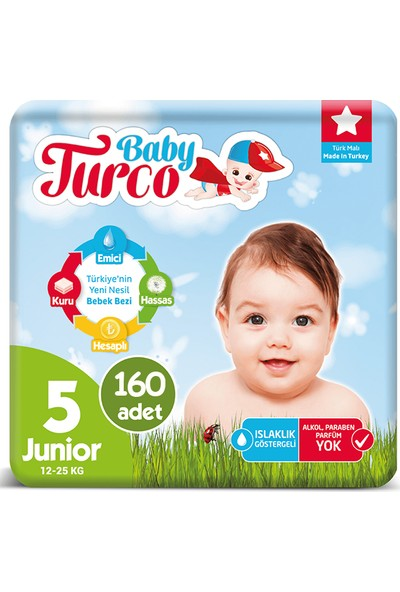 Baby Turco Bebek Bezi 5 Numara Junior 12-25 Kg 32*5 160'lı