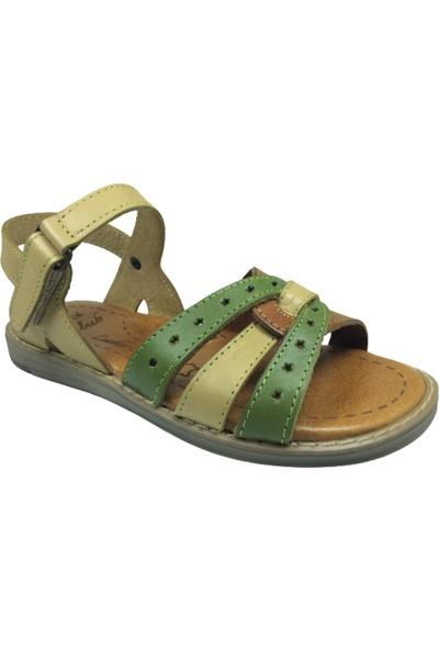 Cici Bebe Ayakkabı FiletKız Çocuk Sandalet 746 Bej Taba Yeşil Bilekten Cirtli Deri
