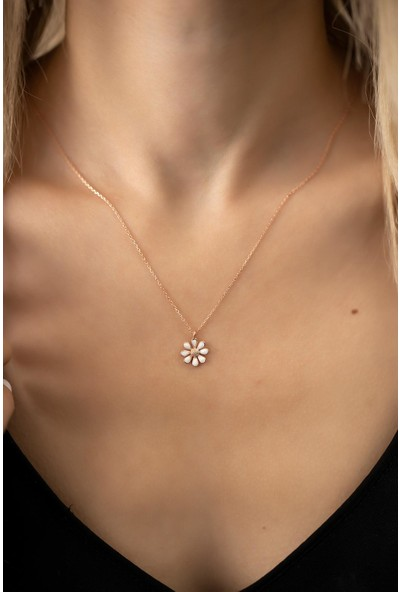 Ninova Silver Papatya Model Rose Kaplama Gümüş Italyan Kolye
