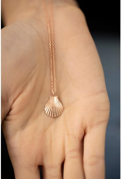 Ninova Silver Deniz Kabuğu Model Rose Kaplama Gümüş Italyan Kolye