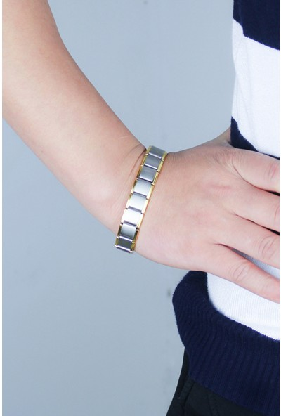 VipBT Turmalin Titanyum Çelik Enerji ve Denge Bilekliği Altın-Gümüş Renk