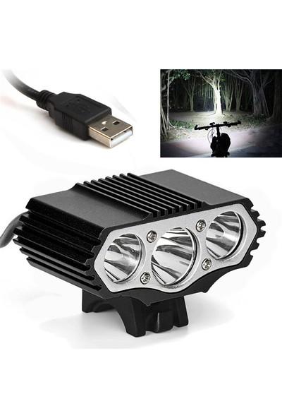 Vision 12.000 Lümen 3x Xm-L T6 LED Bisiklet Farı USB