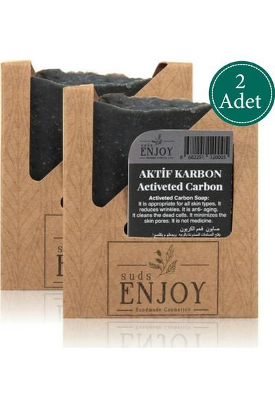 Suds Enjoy Doğal Aktif Karbon Kömür El Yapımı Yüz, Saç ve Vücut Sabunu 100 gr x 2 Adet