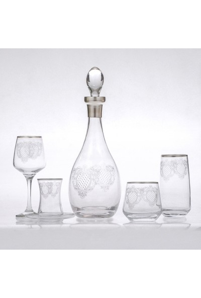 Lugmo Çeyiz Sofra Seti 61 Parça 12 Kişilik Cam Su Takımı Gümüş