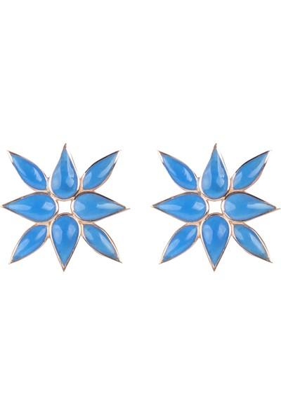 Wemeer Mavi Mineli Çiçek Formunda 925 Ayar Gümüş Küpe