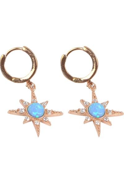 Wemeer Yıldız Formunda Zirkon Taşlı Ortası Mavi Sedefli 925 Ayar Gümüş Küpe