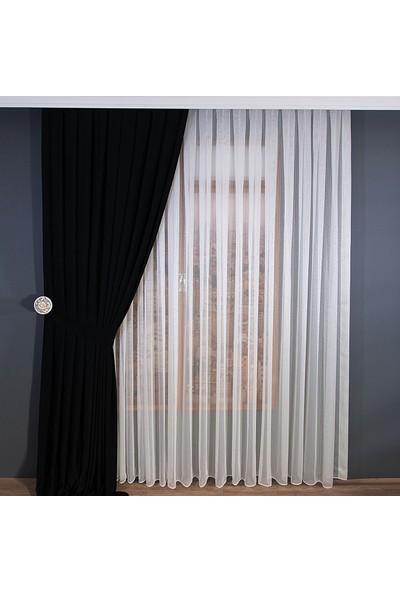 Anıper Tül Perde İnce Çizgili Armür Desen 1'e 2 Pile Sıklığı 80 x 200 cm
