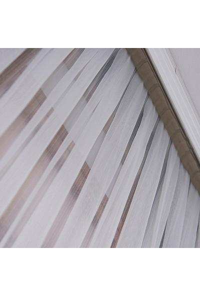Anıper Tül Perde İnce Çizgili Armür Desen 1'e 2,5 Pile Sıklığı 80 x 200 cm