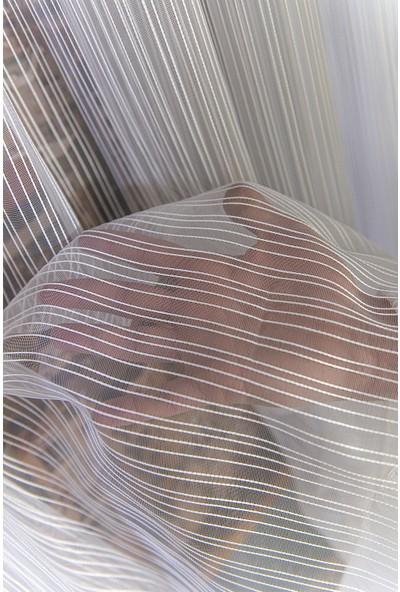 Anıper Tül Perde Kalın Çizgili Armür Desen 1'e 2 Pile Sıklığı 80 x 200 cm