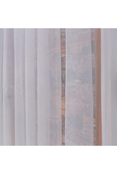Anıper Tül Perde Grek Zemin Etek Desen 1'e 2,5 Pile Sıklığı 80 x 200 cm