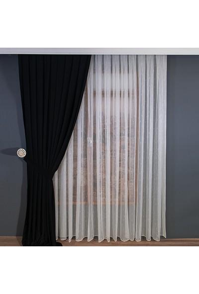 Anıper Tül Perde Kalın Çizgili Örme Desen 1'e 2 Pile Sıklığı 80 x 200 cm