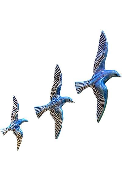 Fethiye Hediyelik Seramik Duvar Panosu Turkuaz Mavi 3'lü Kuş
