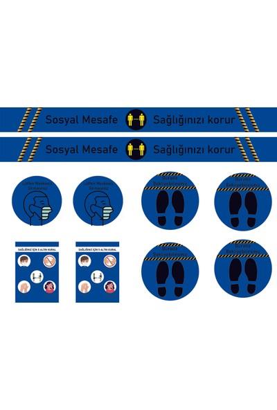 ELF Sosyal Mesafe Uyarı Sticker Seti Mavi