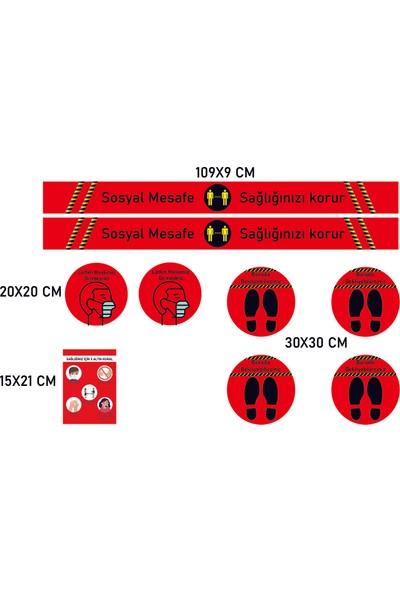 ELF Sosyal Mesafe Uyarı Sticker Seti Kırmızı