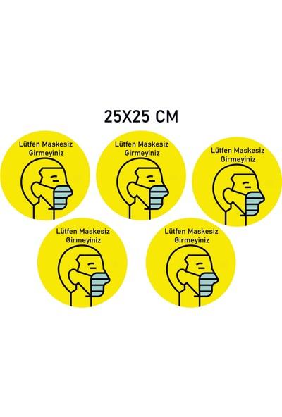 ELF Sosyal Mesafe Uyarı Sticker Seti Maskesiz Girmeyin 5 adet