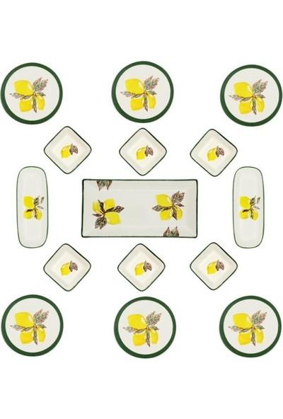 Şura Mutfak Limon Kahvaltı Takımı 15 Parça 6 Kişilik Yuvarlak El Boyaması