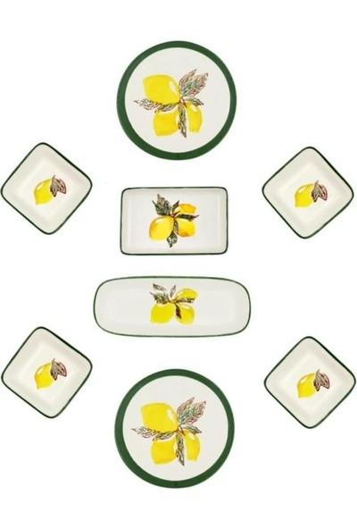 Şura Mutfak Limon Desen 2 Kişilik Kahvaltı Takımı El Boyaması 8 Parça