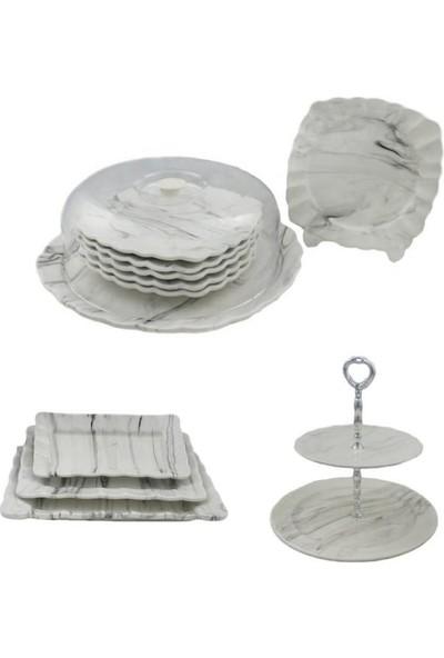 Şura Mutfak Mermer Desen Pasta Ikram Seti Çeyiz Seti Kek Fanus & Pasta Tabağı & Katlı Kurabiyelik & 3lü Kayık