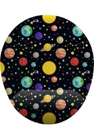 İyi Fikirler Uzay Güneş ve Gezegenler Bilek Destekli Mouse Pad