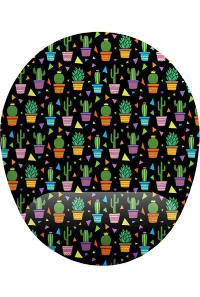 İyi Fikirler Kaktüs Desenli Siyah Zemin Bilek Destekli Mouse Pad