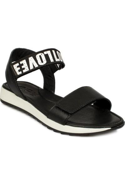 Piarmoni Msm Trend Sandals 2288 Cırtlı Siyah Çocuk Sandalet