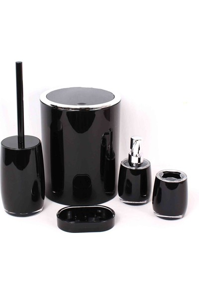 Gönül Akrilik 5 Parça Çöp Kovalı Banyo Seti Siyah