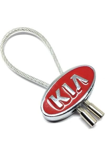 Oto Aksesuarcım Kia Çelik Telli Metal Oto Anahtarlık Kırmızı