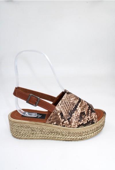 By Erz Kadın Dolgu Topuklu Sandalet