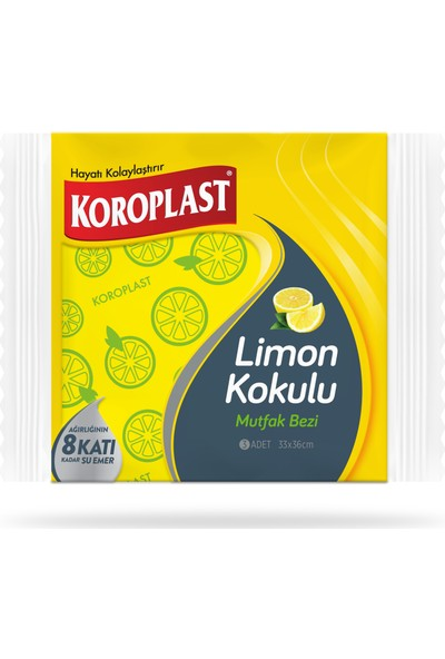Koroplast Limon Kokulu Mutfak Bezi 3'lü