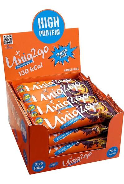 UNIQ2GO Choco Light Midi 16'lı Kutu %100 Naturel Portakal Aromalı Proteinli Bar 40 gr
