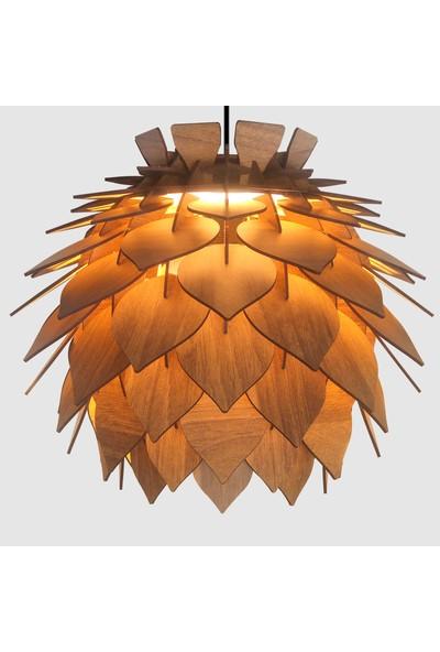 Design Otto Lotus Dekoratif Avize Sarkıt Abajur Lambader Şapkası Ceviz